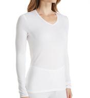 Cuddl Duds Softwear Lace Edge Long Sleeve V-Neck Shirt 8517535