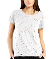 Michael Stars Ripped Textured Jersey Short Sleeve Crew Neck Tee 5917