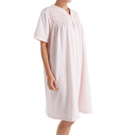 Miss Elaine Silky Knit French Terry Zip Short Robe 369416
