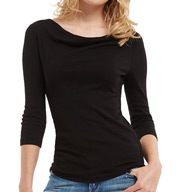 Three Dots 1X1 Cotton Modal 3/4 Sleeve Drape Neck Tee AJ4L214